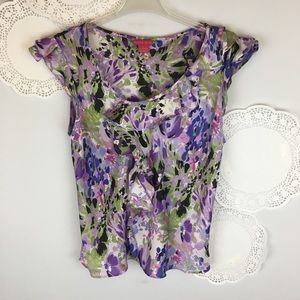 Sunny Leigh Dainty Watercolor Ruffle Top Size XL
